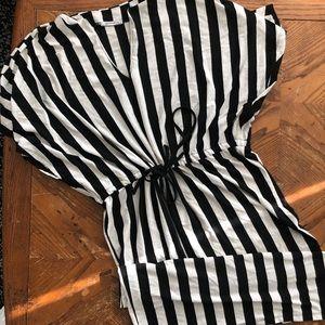Black and white stripped Zara midi dress